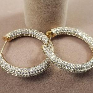 Sterling silver or 14k gold filled pave' hoop
